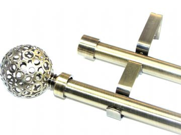 19/19mm Double Layer Antique Brass Eyelet Curtain Pole S Ball 1.2m 1.5m 2.4m 3m